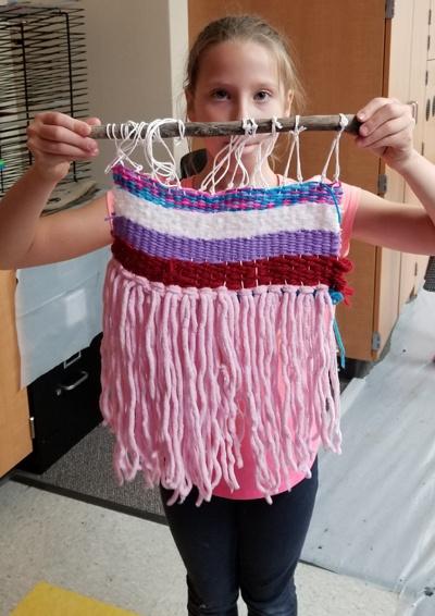 elementary art weaving class